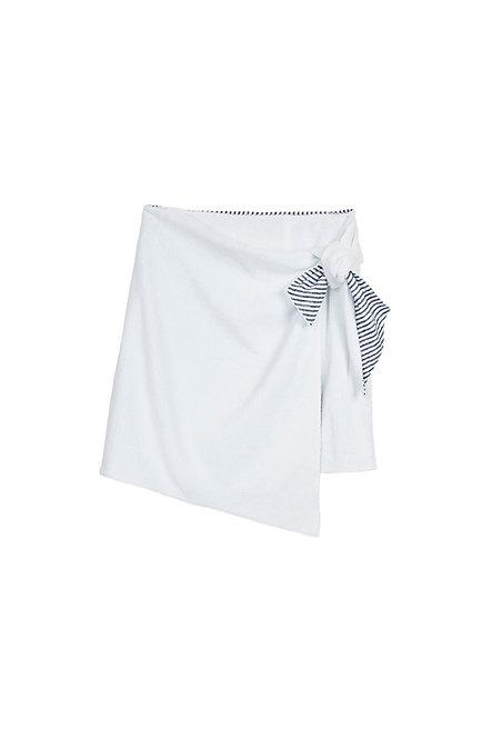 EDEN ROC jupe paréo en éponge blanc et rayure marine et blanc
