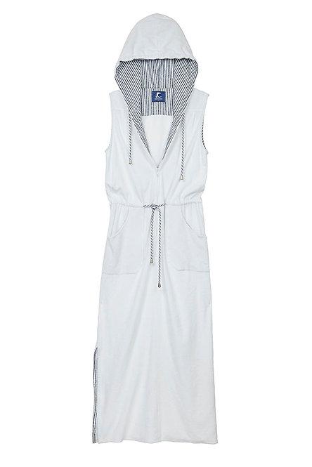 LA VISTA robe longue zippée en éponge blanche