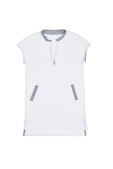 CASABLANCA robe tunique zippée en éponge blanche