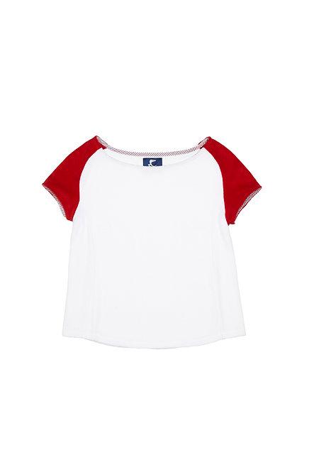 CALIFORNIA tee shirt en éponge blanc et rouge