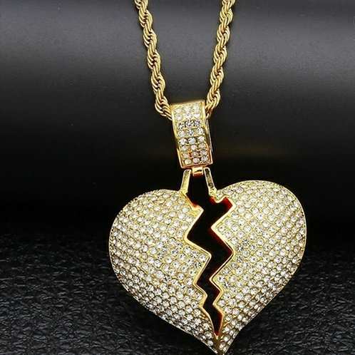 My Bloody Broken Heart Necklace - Gold
