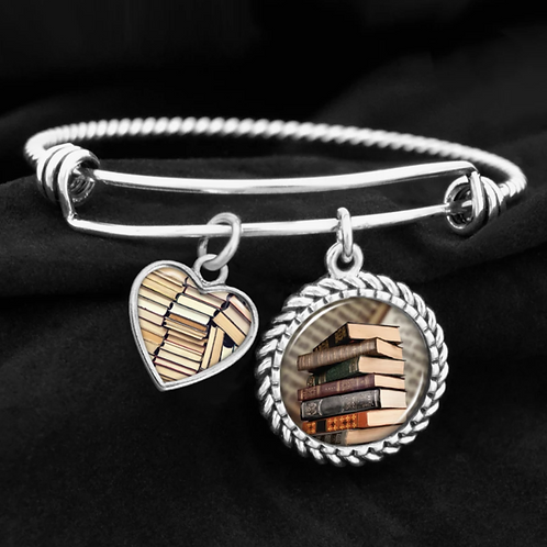 For My Favorite Reader Book Stack Charm Bracelet