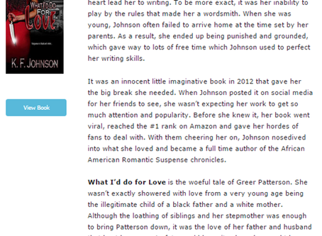 "Serious Reading raves about ""What I'd Do For Love""!"