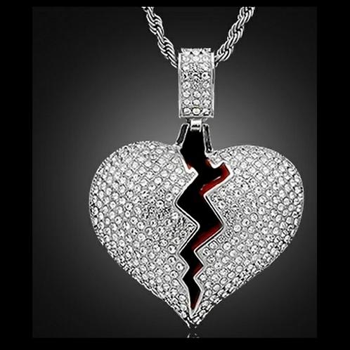 My Bloody Broken Heart Necklace - Silver