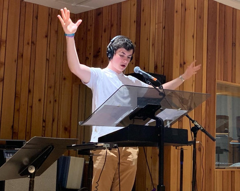 """Conducting his original musical """"It's Never Too Late"""" at Sound On Sound Studios (May 2021)"""