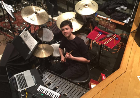"""Playing drums/percussion for """"Sister Act"""" at West Windsor-Plainsboro High School South. (March 2018)"""