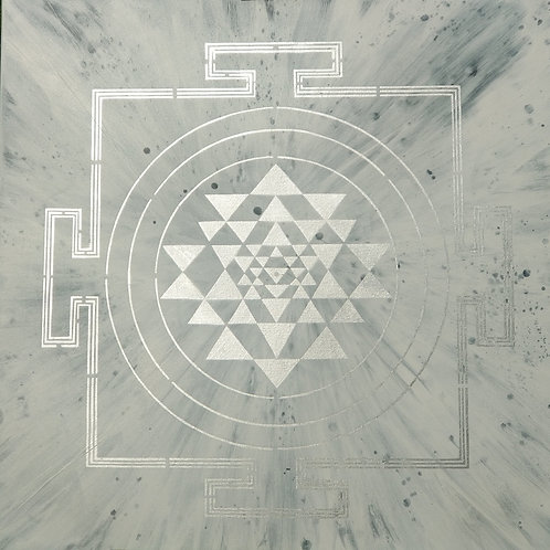 SILVER ON MOON SRI YANTRA PAINTING