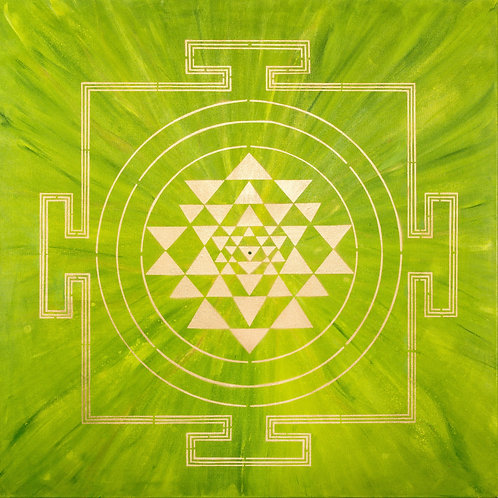 GREEN YANTRA PAINTING