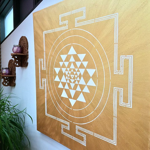 WHITE ON GOLD YANTRA PAINTING
