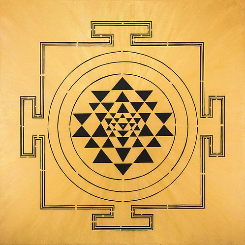 BLACK ON GOLD YANTRA PAINTING
