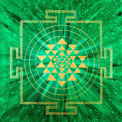 EMERALD GREEN YANTRA PAINTING