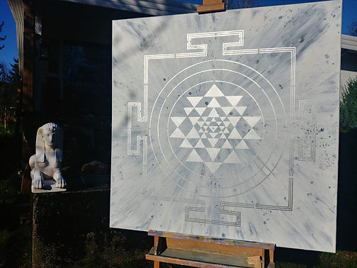 Silver on Moon Yantra Painting