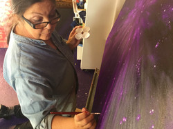 Deep purple Yantra Painting in making