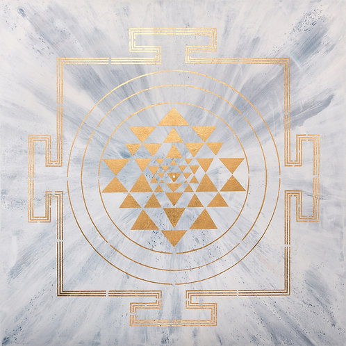 GOLD ON MOON YANTRA PAINTING