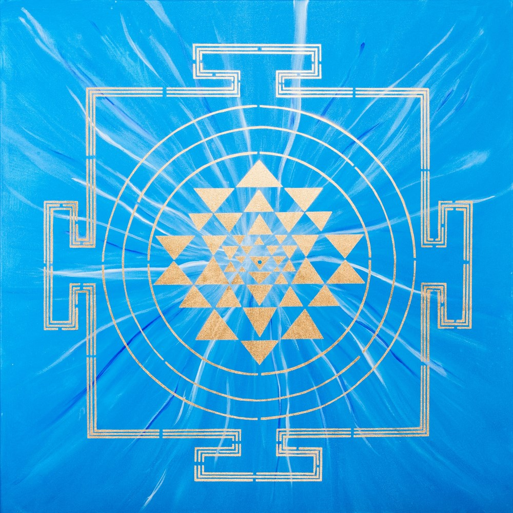 BLUE YANTRA PAINTING