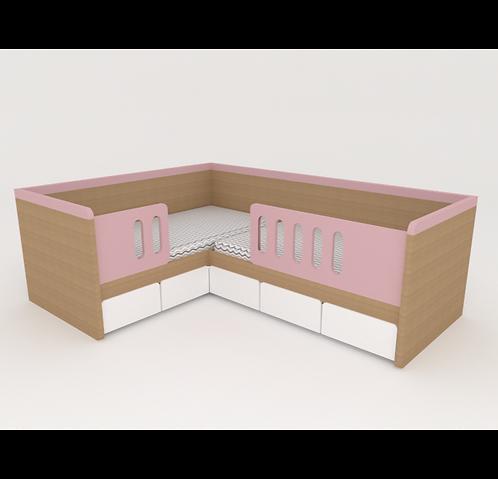Mini cama dupla com grade