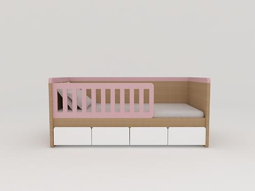 Mini cama com grade e baús