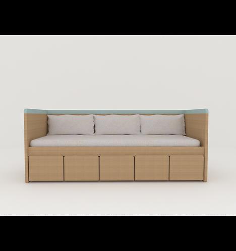 Cama sofá padrão solteiro sem grade com baús