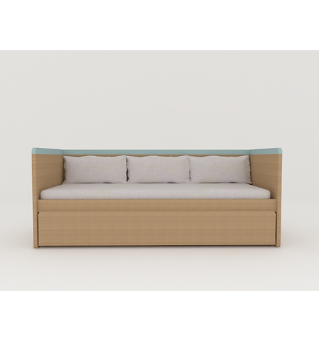 Cama sofá padrão solteiro sem grade e com bicama