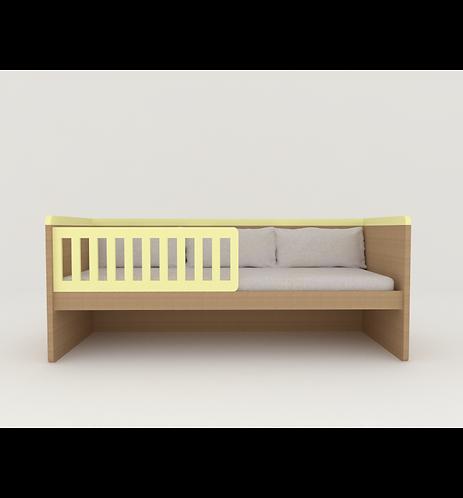 Cama sofá padrão solteiro com grade sem baús ou bicama