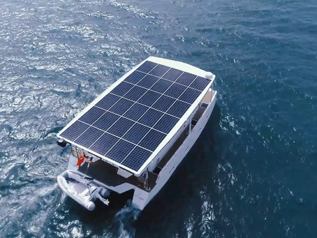 """Solar Eclipse"" 100% Solar Yacht goes out to the open sea!"