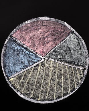Cake graph drawn in colorful chalk on a