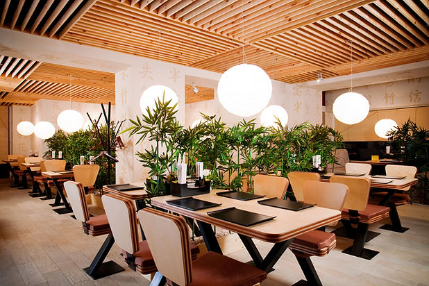 Asian restaurant interior with wooden c