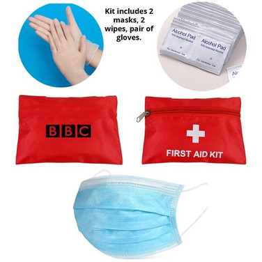 Kit of 2 Face Mask, 2 Alcohol pads, pair of gloves - Pouch