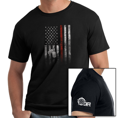 Flag With Dog Tags T-Shirt