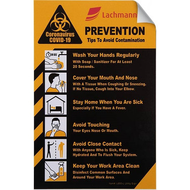 "COVID-19 Coronavirus Prevention Custom Utility Sign 5.5""x 8."