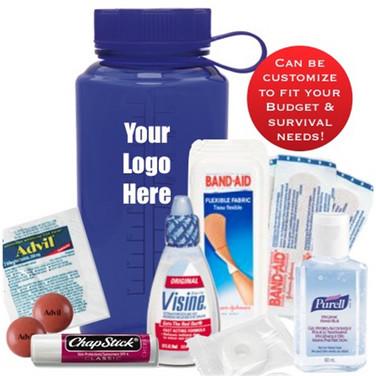 Survival Kit in Blue 32 oz Water Bottle