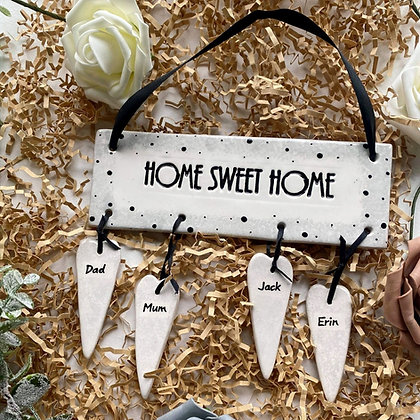 Home Sweet Home Hanging Pottery Plaque