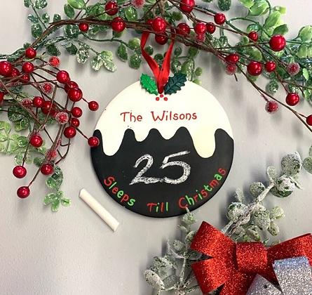 Countdown to Christmas Chalkboard Pudding
