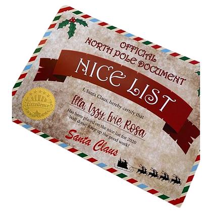 Christmas Eve Box Add On- Nice List Certificate