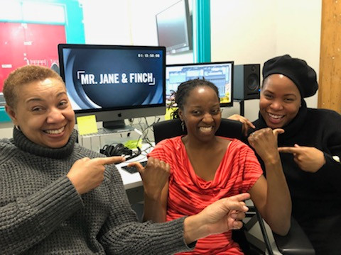 Producer/Writer Alison Duke, Director/Writer/Producer Ngardy Conteh George with editor Sonia celebrating picture lock at Oya Media Group's production office.