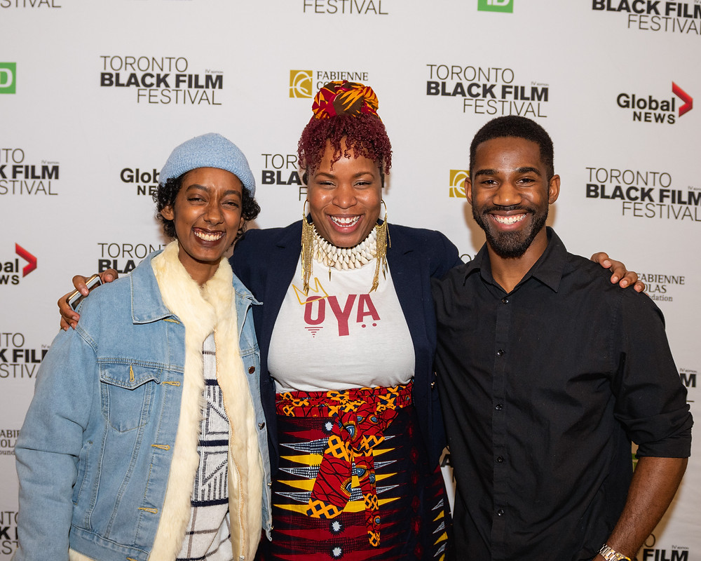 Sonia Godding Togobo and her editing team, Lu Asfaha (left) and Nathan Allen (right) at the Toronto Black Film Festival world premiere screening of 'Mr. Jane and Finch' (photo credit - Roy Virtue)