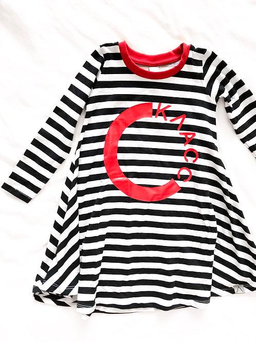 שמלה פסים שחור לבן אדום