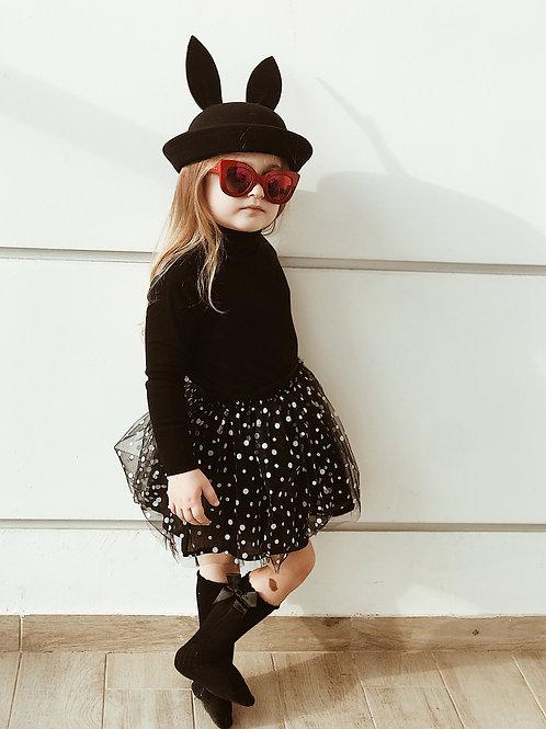 חצאית טול שחורה נקודות