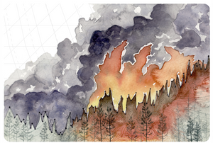 Increasing Forest Fire Activity: This painting uses global temperature rise data to communicate the effect of a warmer world on drought and drier than average conditions, leading to a larger forest fire threat.