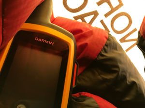 Photo of DeLorme InReach device from inside my sleeping bag