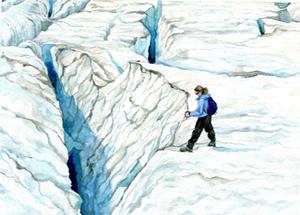 Watercolor portrait painting of glacier fieldwork in 2014