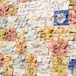 「Motif de Mme Eugénie Coulonnier #2」 Documents, coton, thé / tissage 40×40cm / 2021