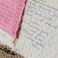 「Motif de Mme Eugénie Coulonnier #1」 Documents, coton, thé / tissage 40×40cm / 2021