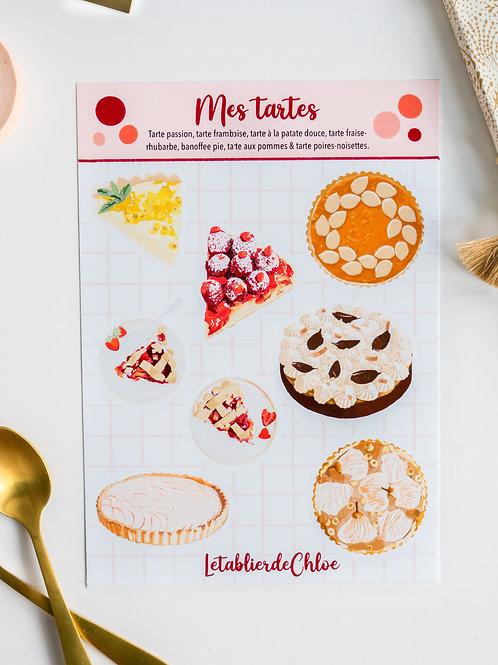 Planche de stickers : Mes tartes