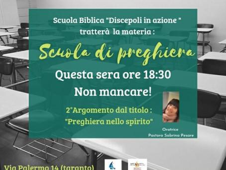 """Scuola di preghiera, argomento """"La preghiera nello Spirito"""""""