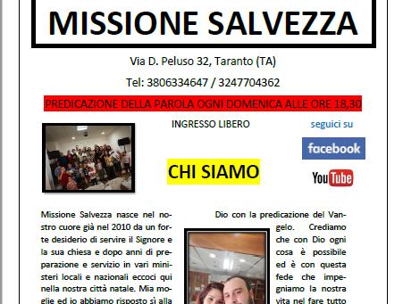 E' disponibile il primo numero del giornalino cristiano di Missione Salvezza