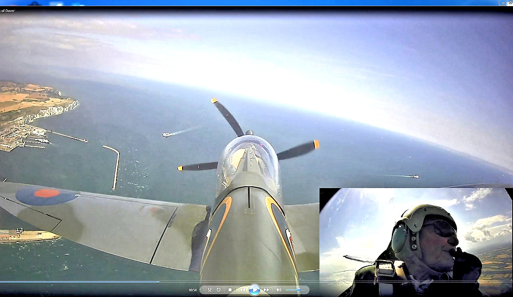 As viewwed from the tail of the Spitfire