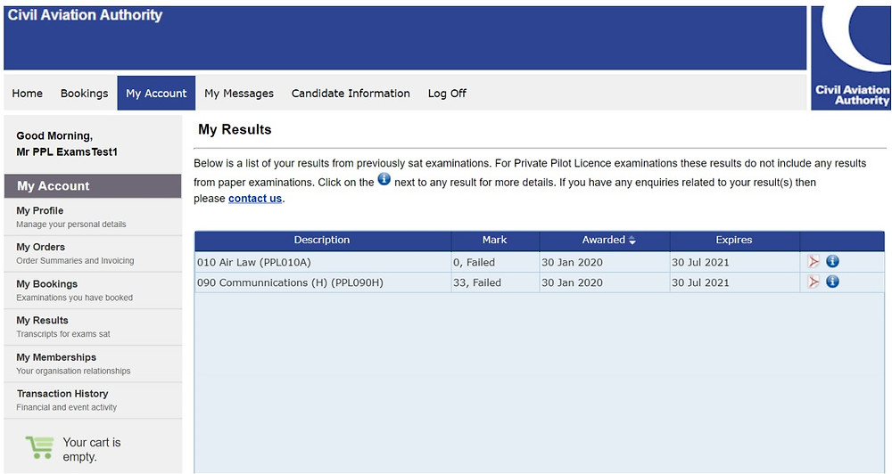 A screenshot of the candidate's view on the CAA e-exam portal