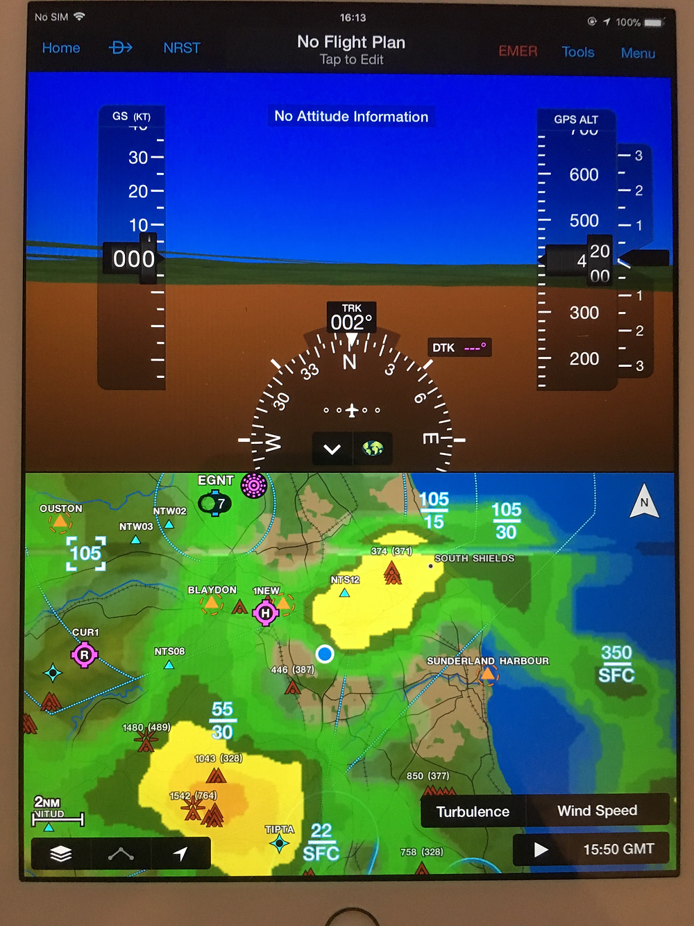 Garmin Pilot with weather overlay