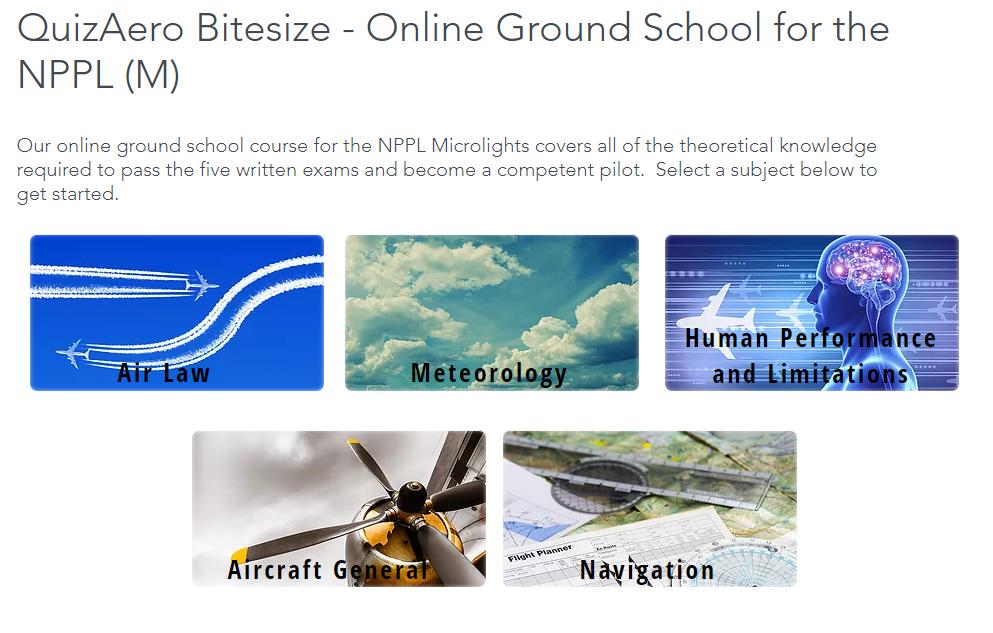 QuizAero Bitesize - Online Ground School for Microlight Students